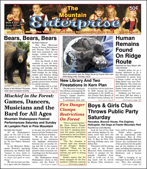 The Mountain Enterprise July 13, 2007 Edition