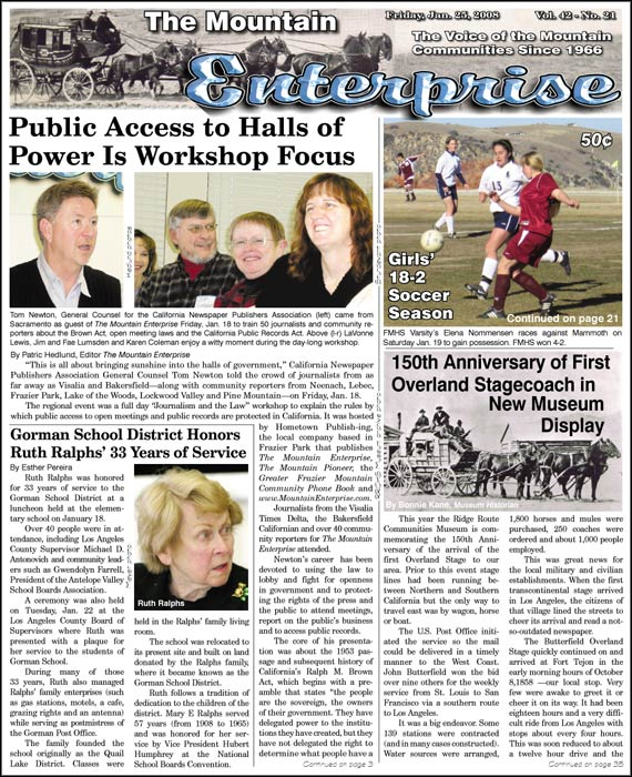 The Mountain Enterprise January 25, 2008 Edition