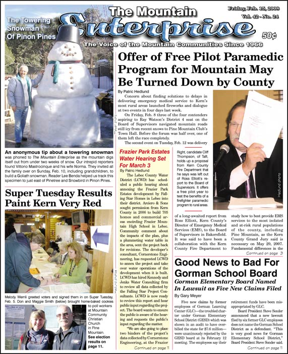 The Mountain Enterprise February 15, 2008 Edition
