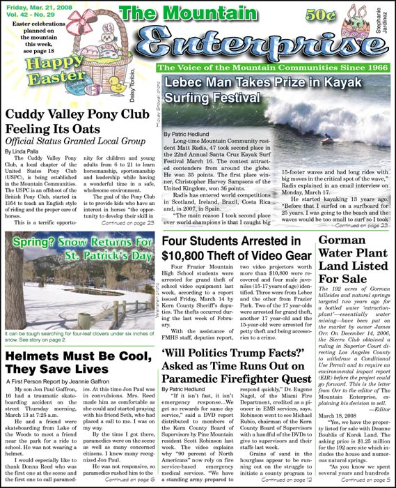 The Mountain Enterprise March 21, 2008 Edition
