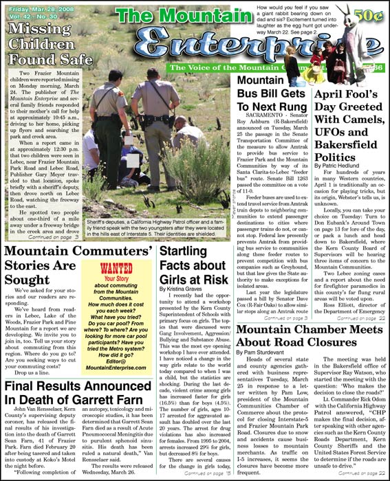 The Mountain Enterprise March 28, 2008 Edition
