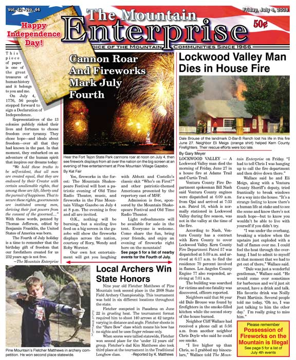 The Mountain Enterprise July 04, 2008 Edition