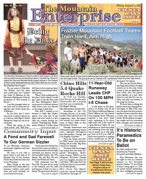 The Mountain Enterprise August 01, 2008 Edition