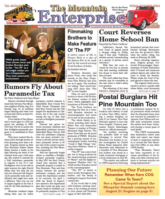 The Mountain Enterprise August 15, 2008 Edition