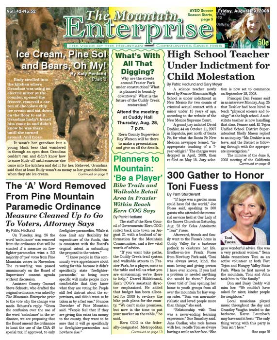 The Mountain Enterprise August 29, 2008 Edition