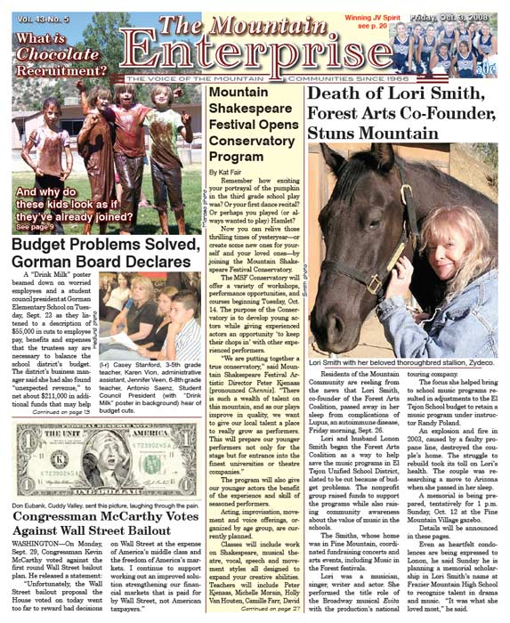 The Mountain Enterprise October 03, 2008 Edition