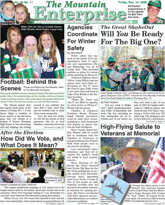 The Mountain Enterprise November 14, 2008 Edition