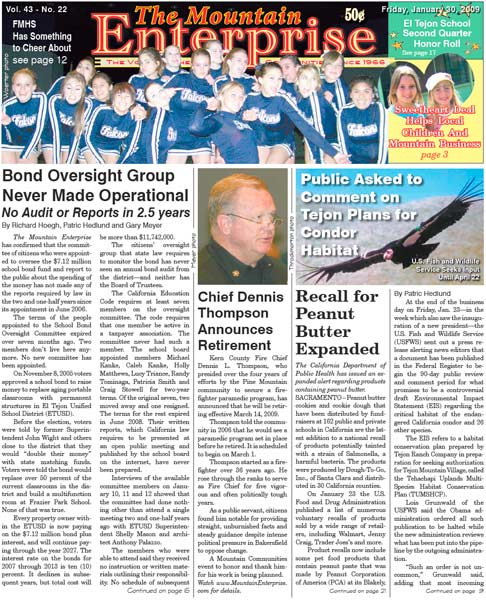 The Mountain Enterprise January 30, 2009 Edition