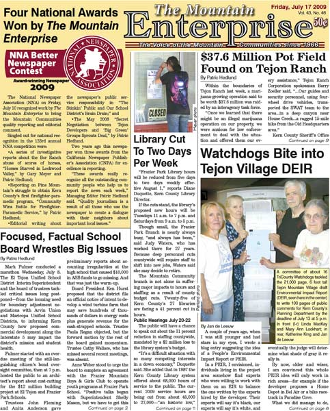 The Mountain Enterprise July 17, 2009 Edition