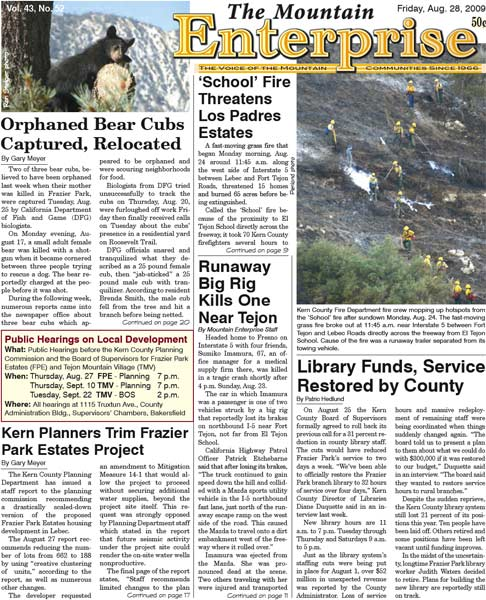 The Mountain Enterprise August 28, 2009 Edition