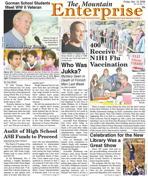 The Mountain Enterprise November 13, 2009 Edition