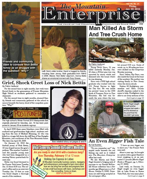 The Mountain Enterprise January 22, 2010 Edition