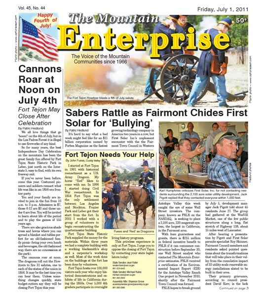 The Mountain Enterprise July 01, 2011 Edition