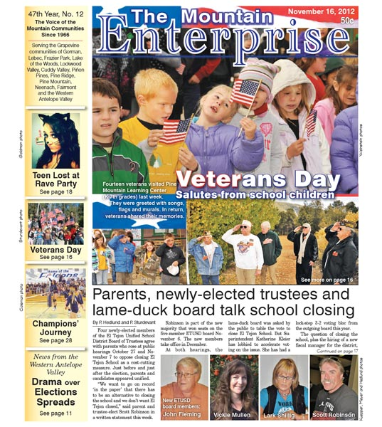 The Mountain Enterprise November 16, 2012 Edition