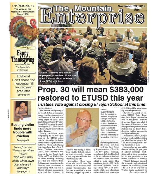 The Mountain Enterprise November 23, 2012 Edition