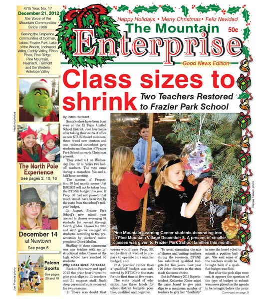 The Mountain Enterprise December 21, 2012 Edition