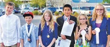 Mountain students have everything they need to succeed, it appears, if there are involved parents, creative community mentors, supportive administrators, excited teachers and a stable program. Above, some of the 16 local students who competed at the Kern County Science Fair:(l-r) Fletcher Matthews, David Nelson, Rachel Hallmark, Michael Stegeman, Kelly Stegeman and Lily Hallmark.