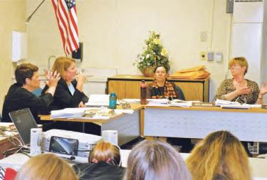 At the March 14 board meeting, trustees and the public heard an upbeat report from ETUSD Fiscal Director Terri Geivet and Superintendent Katie Kleier about the loss of $133,00 to $144,000 in ADA because of failure to document attendance at the high school last year for independent study students. The upbeat part? We could have lost much, much more because basic administrative records were not kept. Attendance records for the whole school were recompiled [See report last week] [Hedlund photo for The Mountain Enterprise]