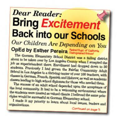 Bring Excitement Back into our Schools OpEd by Esther Pereira