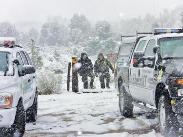 Over a period of 8 hours, 18 Kern and Ventura County emergency response personnel worked during the snow storm March 25 to assist and investigate a suspicious death in Lake of the Woods.
