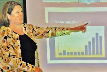El Tejon Unified School District Superintendent Katie Kleier showed the dramatic rise in deferrals of payments for schools from the state. She explained why ETUSD must plan for the worst. Parents listened closely, then spoke of the need for the district to focus on better dialogue with parents and suggested modernizing the ETUSD website.