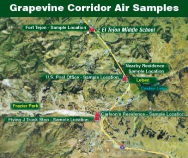 This map of the Lebec Grapevine region along Interstate 5 shows where air samples were taken by a task force of the TriCounty Watchdogs over 12 months with a grant and mentoring from Global Community Monitor and a $25,000 grant from the Rose Foundation.