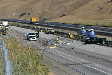 The scene of a multiple fatality accident on southbound Interstate 5, just south of Gorman this morning. [photo by The Mountain Enterprise]