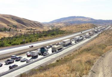 Southbound traffic was backed up for miles, reaching beyond Gorman School Road. [photo by The Mountain Enterprise]
