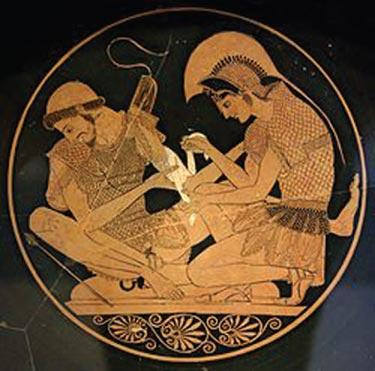 Achilles helps bind the wounds of another soldier. The Illiad by Homer will be read over a series of Saturdays from November 3 at 5-6:30 p.m. through January at the Frazier Park Library.