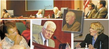 Top: the Kern County Planning Commission, and (inset) Watson-appointee Ron Sprague who spoke about the Frazier Park &quothole.&quot Below left, Arciero biting his fingernails as residents testify about his project to the planning commission. Middle, Supervisor Ray Watson frowns in April 2010 as (right) county planner Lorelei Oviatt explains that Frazier Park Estates should be reduced to 188 houses. Watson told her to come back with a way to let the supervisors vote for 570 houses. She did. They did. And then in 2012 the court said they should not have.