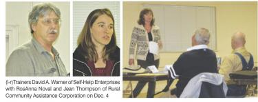 (l-r)Trainers David A. Warner of Self-Help Enterprises with RosAnna Noval and Jean Thompson of Rural Community Assistance Corporation on Dec. 4. [Hedlund photos]
