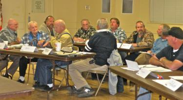The December 4 evening part of the workshop offered two hours of training on Assembly Bill No. 54 to 12 more board members, for a total of 16 from Lake of the Woods and Krista mutual water companies, as well as Lebec County Water District, Piñon Pines and some from the Bakersfield area. [Hedlund Photo]