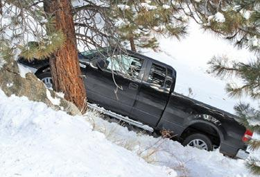 On Saturday, Jan. 12 Chuck Noble of Lebec took this photo on the road to the top of Mount Pinos. The adults and children in the truck were not injured. Many frustrated motorists were seen stuck on East End Drive in Frazier Park and on Woodland in Pine Mountain.