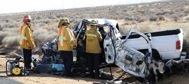 Paul W. Rivas, 51 of Lancaster died in a head-on collision on Highway 138 (Ave. D, between 140th and 150th Street West) on Monday, Jan. 14 at about 11 a.m. L.A. County firefighters brought jaws of life to try to get him out of the truck.