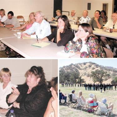 Some of those attending the Board of Trade Tourism Grant workshop included (top photo, front row) Marjorie Nowlin, Sean Malis of Fort Tejon State Park, Teresa LeGault of FOCUS Central, Richard Hoegh from the Mountain Communities Town Council (MCTC), Mary Main and Kat Fair from the Mountain Shakespeare Festival, (back row) Daisy Cuddy, Carl Marsee, Don Weideman of the Ridge Route Communities Museum, Eric Anderson of MCTC and Lloyd Weins of Frazier Ski and Pack. (Bottom left) Lori Murphy, president of Rotary Club of Frazier Park and Mountain Communities and Pam Sturdevant of The Mountain Enterprise listen to Pam Low, president of the Mountain Communities Chamber of Commerce (center) ask whether organizations can coordinate grant-planning to create complementary projects. (Bottom right) Sean Malis coordinates Civil War battle reenactments and immersive history days at Fort Tejon State Park?such as this one on September 15?that attract more than 60,000 visitors, large and small, each year to the Lebec area.