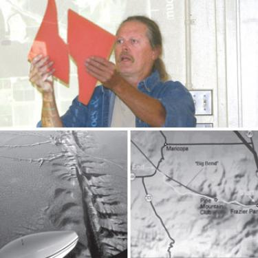 David Lynch (top), an astrophysicist researching with the U.S. Geological Survey, shows how the tectonic plates of the San Andreas Fault slide along each other, then suddenly shiver into a massive earthquake. The San Andreas Fault shown in the map (bottom right) runs directly through Gorman, Frazier Park and Pine Mountain then heads across the Carrizo Plain (bottom left).