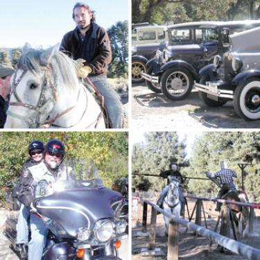 Clockwise, starting top left: Michael Brown had a unique bachelor?s party with his friends at James Zoppe?s American Jousting Alliance ranch in Lockwood Valley Saturday, Oct. 6. Model A Ford Clubs of Southern California and Bakersfield met at Frazier Mountain Park and Ed and Lynda Grinde from Hemet in Pine Mountain with The Choir Boys Harley Riding Club on Sunday, Oct. 7. Sir Michael (left) and his childhood friend Jay Weiland (right) meet in the list.