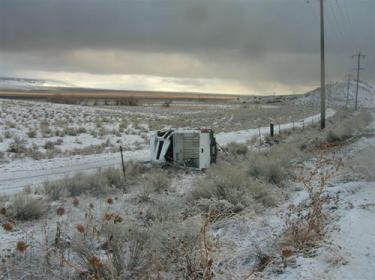 A pickup truck overturned on Highway 138, Thursday, Jan. 31.