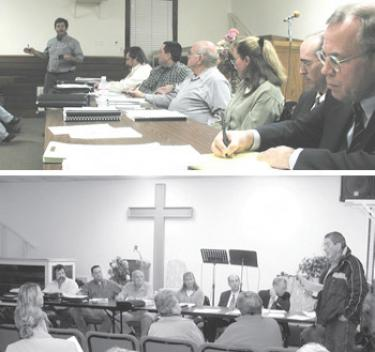 (top) Doug Peters (left) tells the Lebec County Water District Board and its consultants including  Mary Lou Cotton (center) and attorney Dennis Mullins (right) that sufficient water supply for Frazier Park Estates is unproven. (above) Jack Pinard asks for better public access to studies.