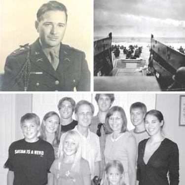 On the 64th anniversary of D-Day, Richard Rivette of Pine Mountain sent his father?s eyewitness account of the Allies breakthrough to liberate Europe from the Nazis during World War II. Top left, Donald E. Rivette in uniform. Top right, a photograph of a LST landing by Robert F. Sargent, U.S. Coast Guard. Bottom, the Rivette family of Pine Mountain is proud of their grandfather?s service (front): Jason, Rachel and Carissa; (middle row): Crystal, Rick, Linda and Tiffany; (back row): Jeremy, Ryan and Jonathan. Jonathan and Jason are students at Frazier Mountain High School, Rachel and Carissa are students at the Pine Mountain Learning Center.