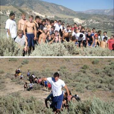 Head coach Jarudd Prosser and his staff have been training the JV and Varsity football teams hard  this summer, four days a week. This group just ran up ?fireman?s hill? overlooking Frazier Mountain High School.