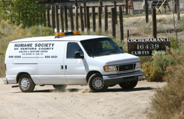 Ventura County humane officers arrive at the Cochema Ranch in Lockwood Valley on Wednesday, Sept. 24. [photo by Gary Meyer]
