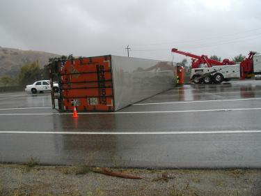 Big Rig Overturned at Lebec Overpass