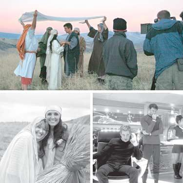 Top, his wedding unfolding in the hills of Hebron last week was really a scene for Book of Ruth, a biblical feature film being shot, in part, on Minnie Claiborne?s beautiful Sky Ranch in Lebec. Below left, (l-r) Bari Moulin with Sherry Morris (Ruth) from the Book of Ruth. Right, cast members of Paramount?s feature Star Trek include (l-r) Chris Pine (Captain James T. Kirk) and Karl Urban (Dr. Leonard ?Bones? McCoy).