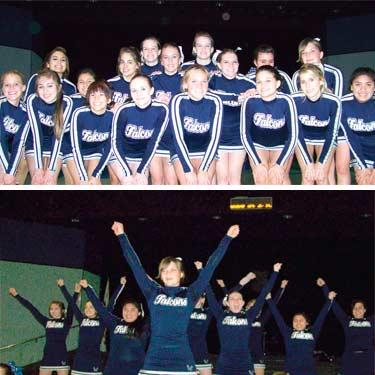 Top, the Cheerleading Squad poses for a portrait. Above, the girls performing one of their routines.