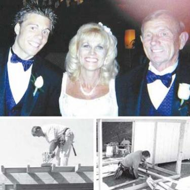 Top, James Calkins, Yvonne Sorensen Vefik and Edwin Sorensen at Yvonne?s wedding. Below, Edwin Sorensen at work on a gazebo and a chicken coop. A licensed contractor, he?s seeking an opportunity to bid on any kind of work to help area families who need building help of any kind.