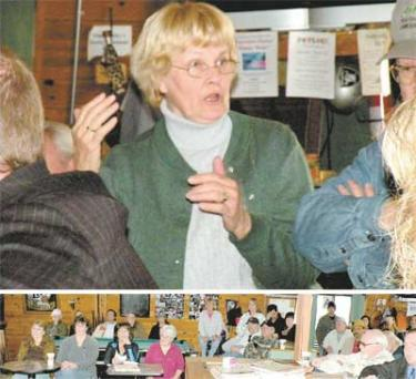 Above, Carole Trudeau speaks passionately to about 50 people gathered to plea the need for the family-oriented Lilac Festival this year, ?of all years.? Below, members of the Pine Mountain Scrappers Quilt Guild (front row on left) said they?d been assured the Lilac Festival and parade would be held this year. They?ve already started advertising.