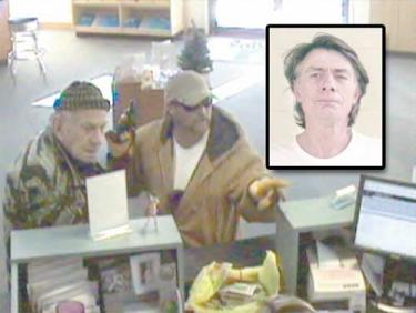 Allegedly Robert Alan Peters, 45 of Frazier Park with a pistol (in his right hand) during bank robbery in Grants Pass. Inset, Anthony Arrigo, 55 of Frazier Park and Grants Pass.