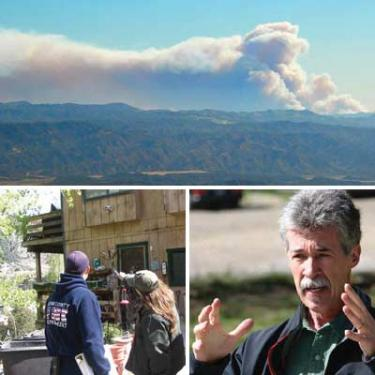 (Top) The Jesusita fire burning in Santa Barbara, seen from Mount Abel (Cerro Noroeste), west of Pine Mountain. Bottom left, Lebec veterinarian Diane Cosko asks questions of Kern County Firefighter Derek Davis about fire hazards at a Frazier Park home a workshop group studied May 2. Separation of moulding from the structure?s siding presented a risk of hot embers igniting the home during a wildfire. Numerous ignition sources were found along the base of the structure, such as brooms, wooden art objects and a trash can full of kindling wood. Bottom right, Pat Durland guided a tour May 2 to show mountain residents how to keep their homes from burning.