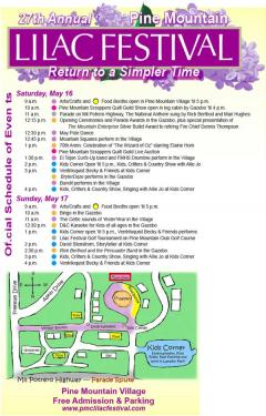 27th Annual Pine Mountain Lilac Festival Official Schedule of Events: Return to a Simpler Time